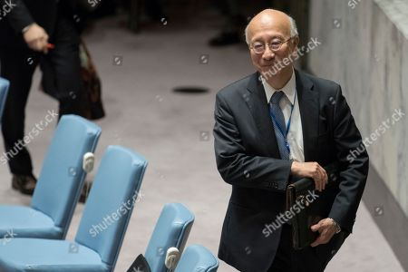 Japanese Ambassador to the United Nations Koro Bessho arrives for a Security Council meeting on the situation in North Korea, at United Nations headquarters
