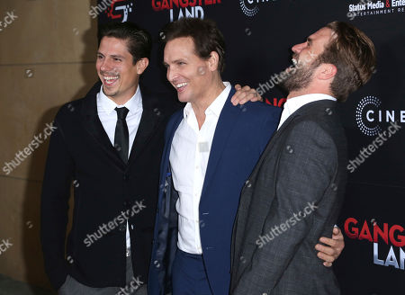 """Sean Faris, Peter Facinelli, Milo Gibson. Sean Faris, from left, Peter Facinelli and Milo Gibson arrive at the Los Angeles premiere of """"Gangster Land"""" at the Egyptian Theater on"""
