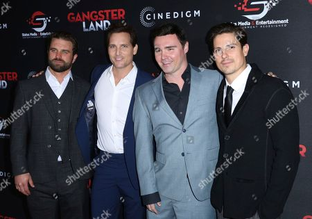 """Milo Gibson, Peter Facinelli, Timothy Woodward Jr., Sean Faris. Milo Gibson, from left, Peter Facinelli, Timothy Woodward Jr. and Sean Faris arrive at the Los Angeles premiere of """"Gangster Land"""" at the Egyptian Theater on"""