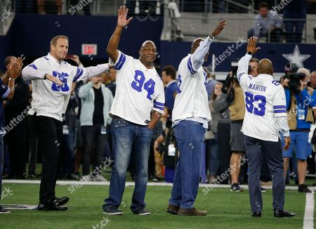 Stock Image of Chad Hennings, Charles Haley, Tony Tolbert, Kelvin Martin. Former Dallas Cowboys players Chad Hennings, Charles Haley, Tony Tolbert and Kelvin Martin are introduced along with the 1992 team as they honored prior to the NFL football game against the Philadelphia Eagles, in Arlington, Texas