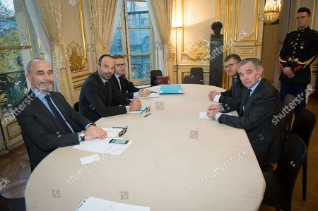 Prime Minister Edouard Philippe with Bernard Accoyer, secretary general of the Republicans