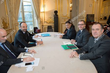 Prime Minister Edouard Philippe with Rachid Temal, coordinator of the Socialist Party