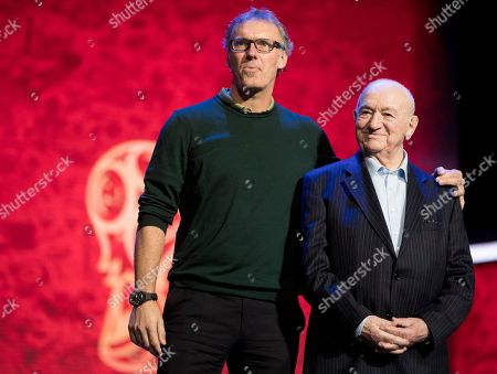 Nikita Simonjan, Laurent Blanc. Draw assistants and former soccer players Nikita Simonjan, right, and Laurent Blanc attend a photo call in the State Kremlin Palace in Moscow, Russia, . The Final Draw for the 2018 soccer World Cup in Russia will take place on Dec. 1 in the State Kremlin Palace in Moscow