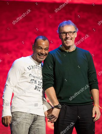 Cafu, Laurent Blanc. Draw assistants and former soccer players Cafu, left, and Laurent Blanc attend a photo call in the State Kremlin Palace in Moscow, Russia, . The Final Draw for the 2018 soccer World Cup in Russia will take place on Dec. 1 in the State Kremlin Palace in Moscow