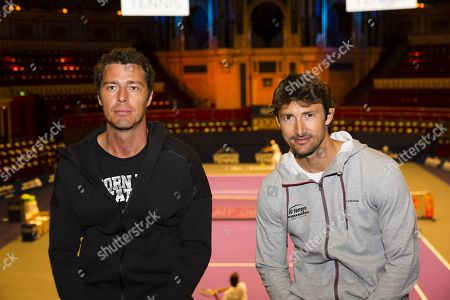 Juan Carlos Ferrero and Marat Safin pose during a photocall to mark the launch of the Champions' Tennis tournament at the Royal Albert Hall.