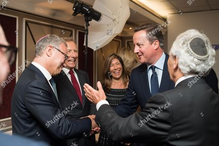 Prime Minister David Cameron with Steven Lewis Chairman of Jewish Care, Stephen Zimmerman, Linda Bogod, and Lord Lord Levy.