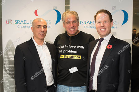 Leon Blitz, Chairman of UK Israel Business, with Uri Levene the founder of Waze, and Hugo Bieber Chief Executive of UK Israel Business.