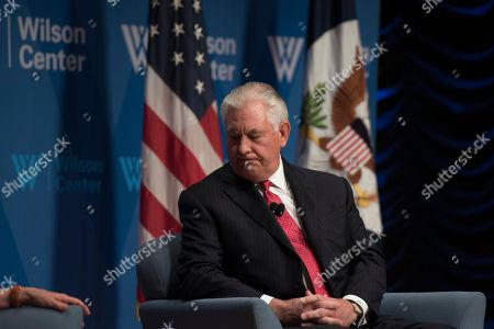 Stock Photo of Secretary of State Rex Tillerson participates in a conversation with Wilson Center President and CEO Jane Harman at the Wilson Center in Washington
