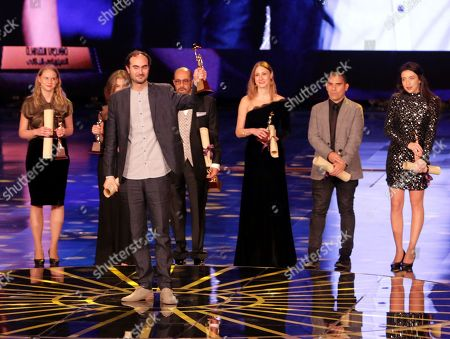 Leonardo Di Costanzo (C)  holds Golden Pyramid for the film The Intruder during the closing ceremony of the 39th Cairo International Film Festival (CIFF), in Cairo, Egypt, 30 November 2017