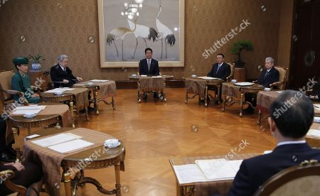 (Clockwise from top) Japan's Prime Minister Shinzo Abe, House of Representatives speaker Tadamori Oshima, House of Councillors speaker Chuichi Date, Chief Cabinet Secretary Yoshihide Suga, Princess Hanako and Prince Hitachi attend a meeting of the Imperial Household Council to discuss the timeline for the abdication of Japan's Emperor Akihito at the Imperial Household Agency in Tokyo, Japan, 01 December 2017.