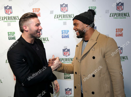 Julian Edelman, Shane Vereen. New England Patriots' Julian Edelman, left, and New York Giants' Shane Vereen greet one another at the opening of NFL Experience at Times Square in New York, . The new attraction has four floors of interactive exhibits and games about football and the NFL