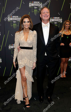Brian France, right, CEO of NASCAR, and Amy France arrive at the NASCAR Cup Series auto racing awards, in Las Vegas