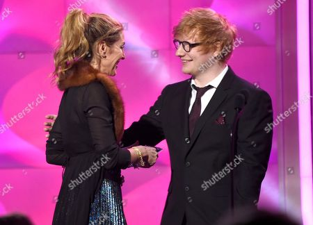 Ed Sheeran, Julie Greenwald. Ed Sheeran, right, presents the award for executive of the year to Julie Greenwald at the Billboard Women in Music event at the Ray Dolby Ballroom, in Los Angeles
