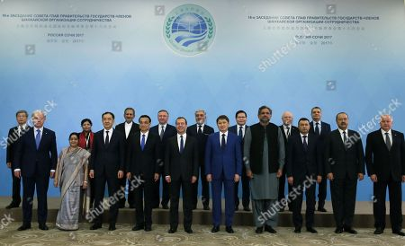 (front, L-R) SCO Secretary General Rashid Alimov, Indian Foreign Minister Sushma Swaraj, Kazakstan's Minister Bakhytzhan Sagintayev, Chinese Premier Li Keqiang, Russian Prime Minister Dmitry Medvedev, Kyrgyzstan's Prime Minister Sapar Isakov, Pakistan's Prime Minister Shahid Khaqan Abbasi, Tajikistan's Prime Minister Kokhir Rasulzoda ,  Uzbekistan's Prime Minister Abdulla Aripov and Director of the Executive Committee of the SCO Regional Anti-Terrorist Structure Yevgeny Sysoyev, (back, L-R) Executive Executive Director of the Conference on Interaction and Confidence Building Measures in Asia (CICA) Secretariat Gong Jianwei, Under-Secretary-General of the United Nations and Executive Secretary of the Economic and Social Commission for Asia and the Pacific (UN ESCAP) Shamshad Akhtar, Iran's Vice-President Eshaq Jahangiri, Belarus Prime Minister Andrei Kobyakov, Afghanistan's Chief Executive Abdullah Abdullah, Mongolian Prime Minister Ukhnaagiin Khurelsukh, Commonwealth of Independent States (CIS) Executive Secretary Sergei Lebedev and Chairman of Board of the Eurasian Economic Commission (EEC) Tigran Sargsyan pose for a picture during the Shanghai Cooperation Organization (SCO) Heads of Government summit in the Black sea resort of Sochi, Russia, 01 December 2017. The  summit takes place in Sochi from 30 November to 01 December 2017.