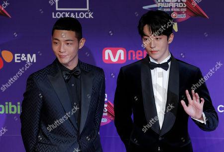 Ji Soo, Nam Joo-Hyuk. South Korean actors Ji Soo, left, and Nam Joo-Hyuk pose for photos on the red carpet of the Mnet Asian Music Awards (MAMA) in Hong Kong