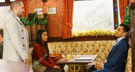 Ep 9332 Thursday 21st December 2017 Aidan Connor, as played by Shayne Ward, and Alya Nazir, as played by Sair Khan, meet Matthew Singh, as played by Peter Singh, in the café to propose becoming partners. Matthew quickly cuts them off, insisting he could never work with Aidan. Aidan suggests Alya might have more luck tackling Matthew on her own.
