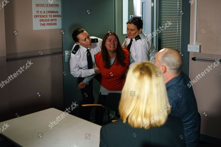 Ep 9317 Monday 4th December 20017 - 2nd Ep Tim Metcalfe, as played by Joe Duttine, and Sarah Platt, as played by Tina O'Brien, visit Anna Windass, as played by Debbie Rush, in prison. Anna's utterly devastated to hear about Gary. Desperate to see her daughter, Anna tries to push past the prison guard. The guard grabs Anna and starts to drag her out of the room. Tim and Sarah watch in horror.