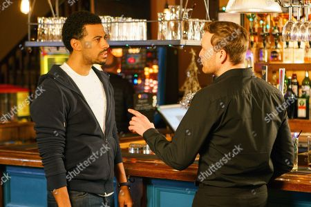 Ep 9345  Friday 5th January 2018 - 1st Ep Having finally got hold of Matt, as played by Sebastian Shaw, Luke Britton, as played by Dean Fagan, arranges to meet him at a bar in town. When he arrives early Luke's intrigued to spot Matt deep in conversation with Phelan, as played by Connor McIntyre. With Phelan gone, Luke approaches Matt. Matt admits that he's no idea where Andy is and that the back-packing story was Phelan's invention.