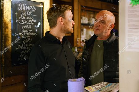 Stock Photo of Ep 9345  Friday 5th January 2018 - 1st Ep Having finally got hold of Matt, as played by Sebastian Shaw, Luke Britton, as played by Dean Fagan, arranges to meet him at a bar in town. When he arrives early Luke's intrigued to spot Matt deep in conversation with Phelan, as played by Connor McIntyre. With Phelan gone, Luke approaches Matt. Matt admits that he's no idea where Andy is and that the back-packing story was Phelan's invention.