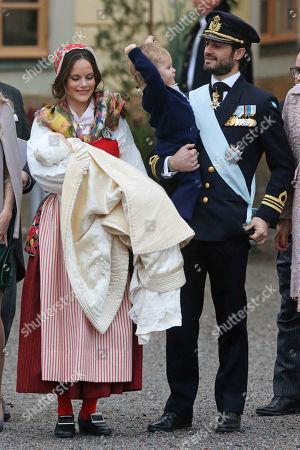 Stock Photo of Princess Sofia of Sweden, Duchess of Värmland, Prince Gabriel of Sweden, Prince Carl Philip Edmund Bertil of Sweden, son, Prince Alexander Erik Hubertus Bertil