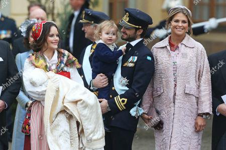 Stock Picture of Princess Sofia of Sweden, Duchess of Värmland, Prince Gabriel of Sweden, Prince Carl Philip Edmund Bertil of Sweden, son, Prince Alexander Erik Hubertus Bertil, Princess Madeleine of Sweden