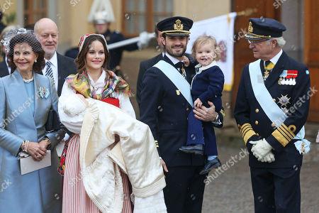 Stock Image of Queen Silvia of Sweden, Princess Sofia of Sweden, Duchess of Värmland, Prince Gabriel of Sweden, Prince Carl Philip Edmund Bertil of Sweden, son, Prince Alexander Erik Hubertus Bertil, King Carl XVI. Gustaf of Sweden