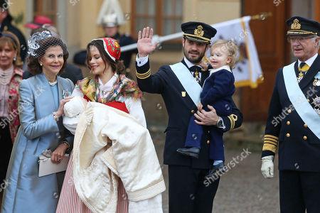 Queen Silvia of Sweden, Princess Sofia of Sweden, Duchess of Värmland, Prince Gabriel of Sweden, Prince Carl Philip Edmund Bertil of Sweden, son, Prince Alexander Erik Hubertus Bertil, King Carl XVI. Gustaf of Sweden