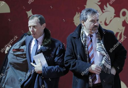 Former Spanish international soccer player  Emilio Butragueno (L) arrives for the Final Draw of the FIFA World Cup 2018 at the State Kremlin Palace in Moscow, Russia, 01 December 2017. The FIFA World Cup 2018 will take place from 14 June until 15 July 2018 in Russia.