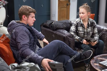 Ep 8025 Tuesday 26th December 2017  Gerry's, as played by Shaun Thomas, suffering from a hangover after having attended his first Dingle Christmas, whilst Liv's, as played by Isobel Steele, pleased to hear Aaron's plans to meet Alex for a drink later.