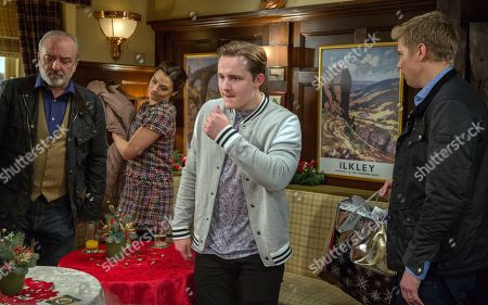 Ep 8022 Friday 22nd December 2017  Robert Sugden, as played by Ryan Hawley, tries to give Seb's gifts to Lawrence White, as played by John Bowe, but he gets a hostile reaction from the Whites.