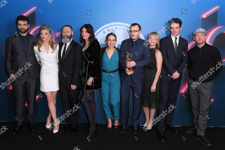 Stock Picture of Francis Lee, Jack Tarling, Manon Ardisson, Josh O'Connor - Best British Independent Film - God's Own Country, presented by Natalie Dormer