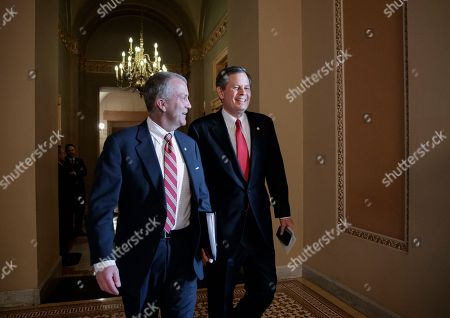 Thom Tillis, Steve Daines. Sen. Thom Tillis, R-N.C., left, and Sen. Steve Daines, R-Mont., head to the Senate chamber after a closed-door meeting with Republican lawmakers to advance the GOP overhaul of the tax code, on Capitol Hill in Washington