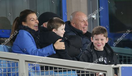 Stock Picture of Coleen Rooney with sons Kai Rooney and Klay Rooney watch the match from a private box