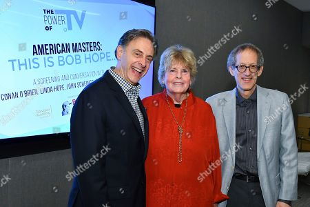"Stock Photo of John Scheinfeld, Linda Hope, Richard Zoglin. Director John Scheinfeld, Linda Hope and writer Richard Zoglin attend a VIP reception for the Television Academy Foundation's public program, ""THE POWER OF TV -- AMERICAN MASTERS: This is Bob Hope...,"" a special screening and discussion on at the Saban Media Center in North Hollywood, Calif"