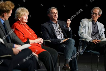 "Stock Picture of Conan O'Brien, Linda Hope, John Scheinfeld, Richard Zoglin. Conan O'Brien, from left, Linda Hope, John Scheinfeld and Richard Zoglin discuss the amazing life and accomplishments of Bob Hope during the Television Academy Foundation's public program, ""THE POWER OF TV -- AMERICAN MASTERS: This is Bob Hope?"" on at the Saban Media Center in North Hollywood, Calif"
