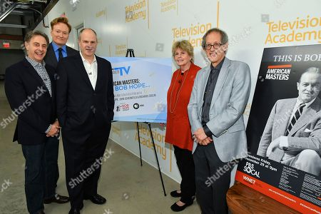 "Stock Image of John Scheinfeld, Conan O'Brien, Michael Kantor, Linda Hope, Richard Zoglin. John Scheinfeld, Conan O'Brien, Michael Kantor, Linda Hope and Richard Zoglin pose backstage at the Television Academy Foundation's public program, ""THE POWER OF TV -- AMERICAN MASTERS: This is Bob Hope?"" on at the Saban Media Center in North Hollywood, Calif"