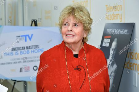 "Linda Hope is seen backstage for the Television Academy Foundation's public program, ""THE POWER OF TV -- AMERICAN MASTERS: This is Bob Hope...,"" a special screening and discussion on at the Saban Media Center in North Hollywood, Calif"