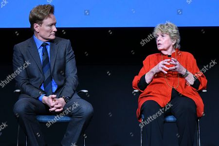 "Conan O'Brien, Linda Hope. Conan O'Brien and Linda Hope discuss the amazing life and accomplishments of Bob Hope during the Television Academy Foundation's public program, ""THE POWER OF TV -- AMERICAN MASTERS: This is Bob Hope?"" on at the Saban Media Center in North Hollywood, Calif"