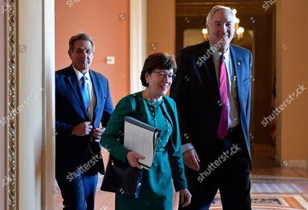Jeff Flake, Susan Collins, Luther Strange. Sen. Susan Collins, R-Maine, center, walks with Sen. Jeff Flake, R-Ariz., left, and Sen. Luther Strange R-Ala., right, on Capitol Hill in Washington
