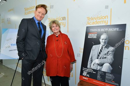 "Linda Hope, Conan O'Brien. IMAGE DISTRIBUTED FOR THE TELEVISION ACADEMY - Linda Hope and Conan O'Brien meet backstage for the Television Academy Foundation's public program, ""THE POWER OF TV -- AMERICAN MASTERS: This is Bob Hope...,"" a special screening and discussion on at the Saban Media Center in North Hollywood, Calif"