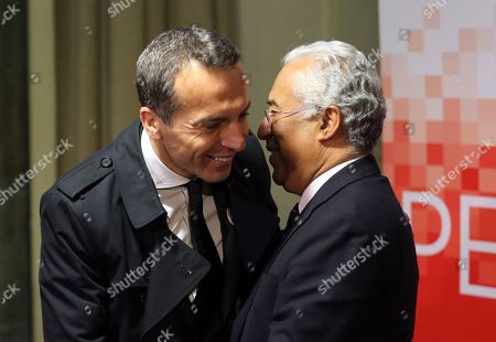 Austria Chancellor Christian Kern, left, is greeted by Portuguese Prime Minister Antonio Costa before a dinner at the Portuguese Socialist Party headquarters in Lisbon, . European Socialist leaders are in Lisbon to attend the Party of European Socialists Council Friday and Saturday