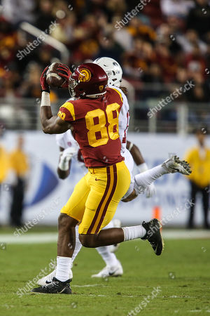 USC Trojans tight end Daniel Imatorbhebhe (88) catches the football during the PAC-12 Football Championship game between the USC Trojans and the Stanford Cardinal at Levi's Stadium in Santa Clara, CA. The USC Trojans lead the Stanford Cardinal at halftime 17 to 14
