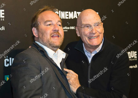 """French director Xavier Beauvois, left, and Swiss director Barbet Schroeder pose during a photocall prior to the screening of the movie """"Les Gardiennes"""" in Paris"""