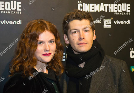 """French actress Iris Bry, left, and French actor Cyril Descourse pose during a photocall prior to the screening of the movie """"Les Gardiennes"""" in Paris"""