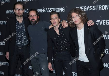 Mark Stoermer, Ronnie Vannucci, Brandon Flowers, Dave Keuning. From left, Mark Stoermer, Ronnie Vannucci, Brandon Flowers and Dave Keuning of The Killers arrive at the Vegas Strong Benefit concert at T-Mobile Arena, in Las Vegas