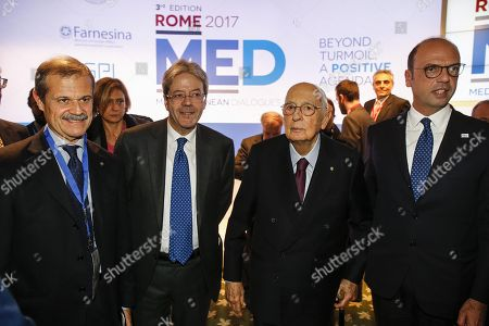 (L-R) Italian ambassador and president of the Institute for International Political Studies (ISPI) Giampiero Massolo, Italian Prime Minister, Paolo Gentiloni; Italian Former President, Giorgio Napolitano and Italian Minister for Foreign Affairs, Angelino Alfano, attend a press conference during the Forum MED 2017 in Rome, Italy, 02 December 2017. The three day conference is focusing on issues facing the Mediterranean region.