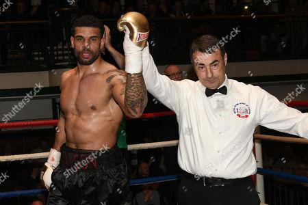 Julian Wilson (black shorts) defeats Florian Strupits during a Boxing Show at York Hall on 1st December 2017
