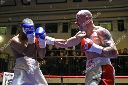 Stock Photo of Daniel Kennedy (white/red shorts) defeats Jordan Grannum during a Boxing Show at York Hall on 1st December 2017