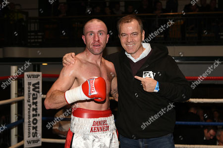 Daniel Kennedy (L) with manager Dennis Hobson after defeating Jordan Grannum during a Boxing Show at York Hall on 1st December 2017