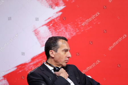 Austria Chancellor Christian Kern listens to speakers during the Party of European Socialists Council in Lisbon
